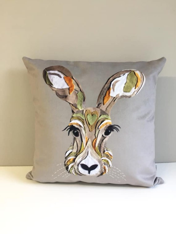 Printed Hare cushion (Vegan Suede)
