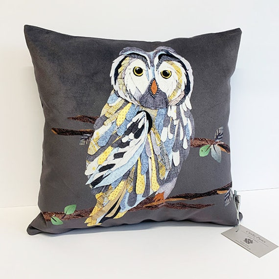 Printed owl cushion (suede)