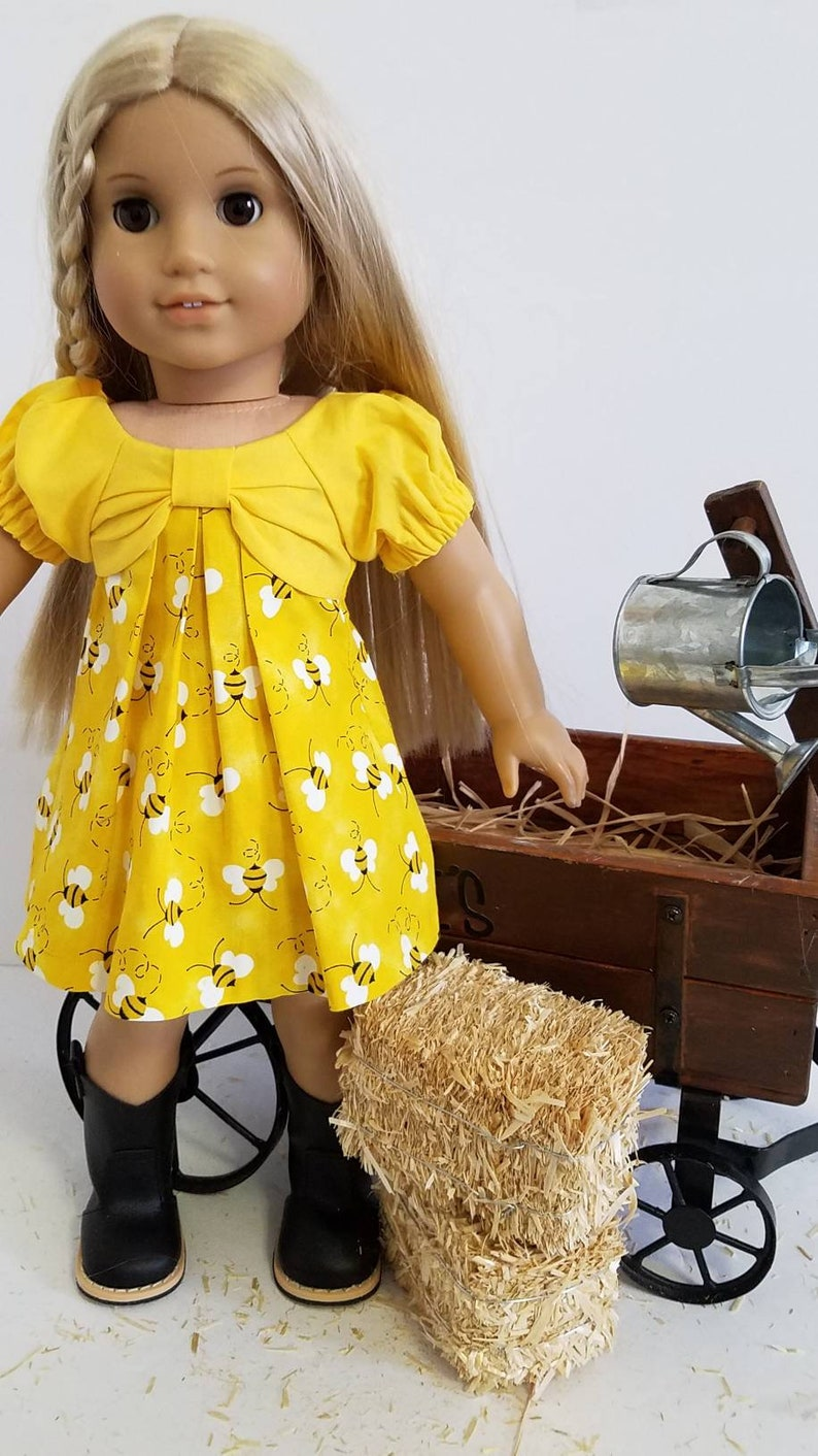 c468be813f5a0 Busy Bee Bow Front Dress Fits 18 in dolls like American Girl