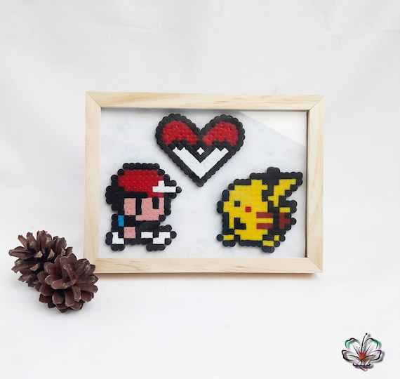 Pokemon Sacha Pikachu Heart Pixel Art