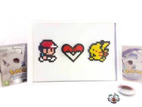Pokemon Sacha Pikachu Cœur Pixel Art