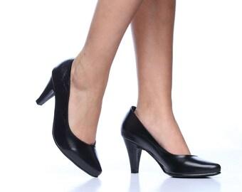 Black Keisha Leather High Heel Shoes, Handmade Leather Shoes, Comfortable High Heels, Wedding Shoes, Women Shoes