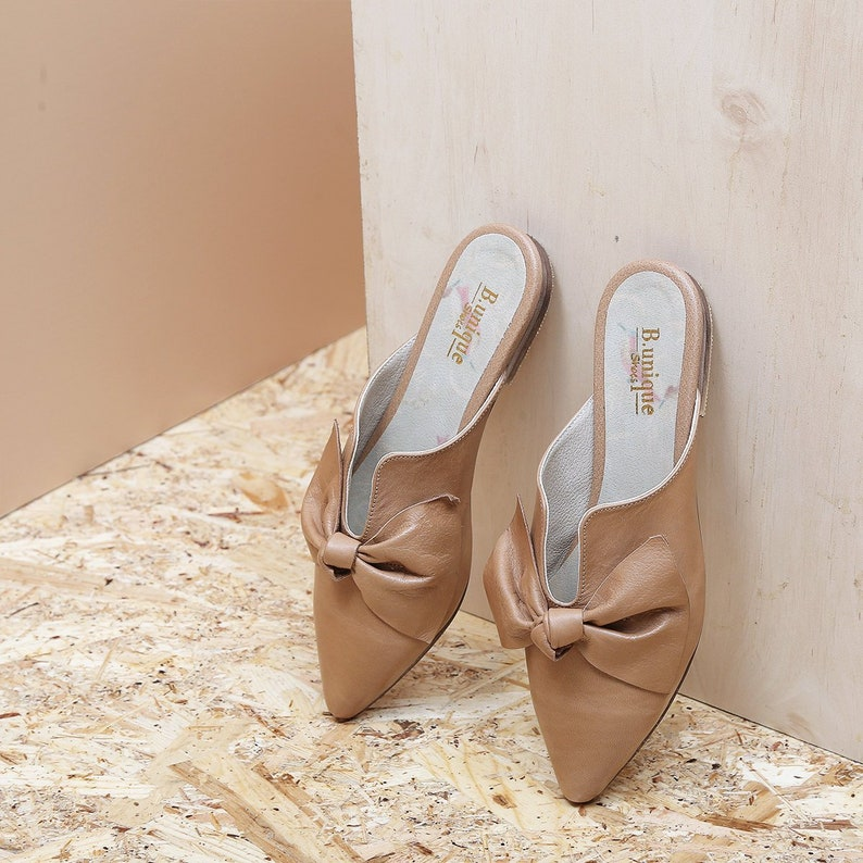 be63d655f843d Brown open-backed sandal Leather Flats, Handmade Leather Flats, Women's  Leather Flat Shoes, Women Slip On Flats