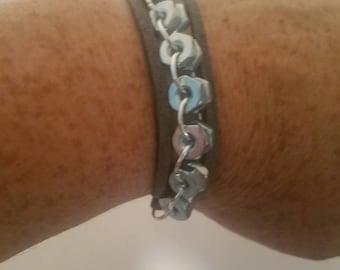 Suede hex nut triple bracelet
