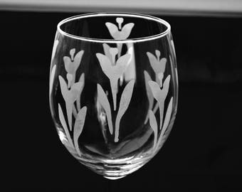 Custom Etched Wine Glass
