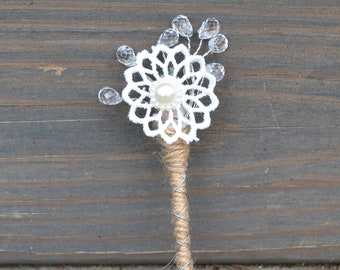Lace flower Boutonniere, Corsage Set Pin Pearls, beads burlap lace, flowers floral grooms groomsmen prom rustic chic decoration accessories