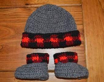 Buffalo Check Red Winter Hat Crochet lumberjack beanie  9709ec810019