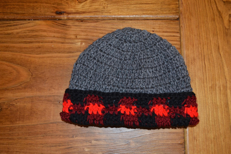 61ed91a297d Buffalo Check Red Winter Hat Crochet lumberjack beanie