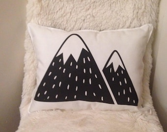 Mountain pillow, snow mountain cushion, monochrome mountain, living room decor, kids room decor, mountain plush pillow, black and white