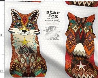 fox plush monochrome room decor fabric panel black and white fox fabric FOX fabric panel fox panel fabric diy pillow monochrome fox