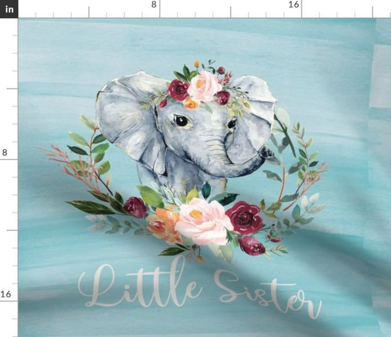 LITTLE SISTER blue ELEPHANT fabric panel big ears cushion diy kids sewing craft cut and sew pastel elephant baby animal pillow fabric