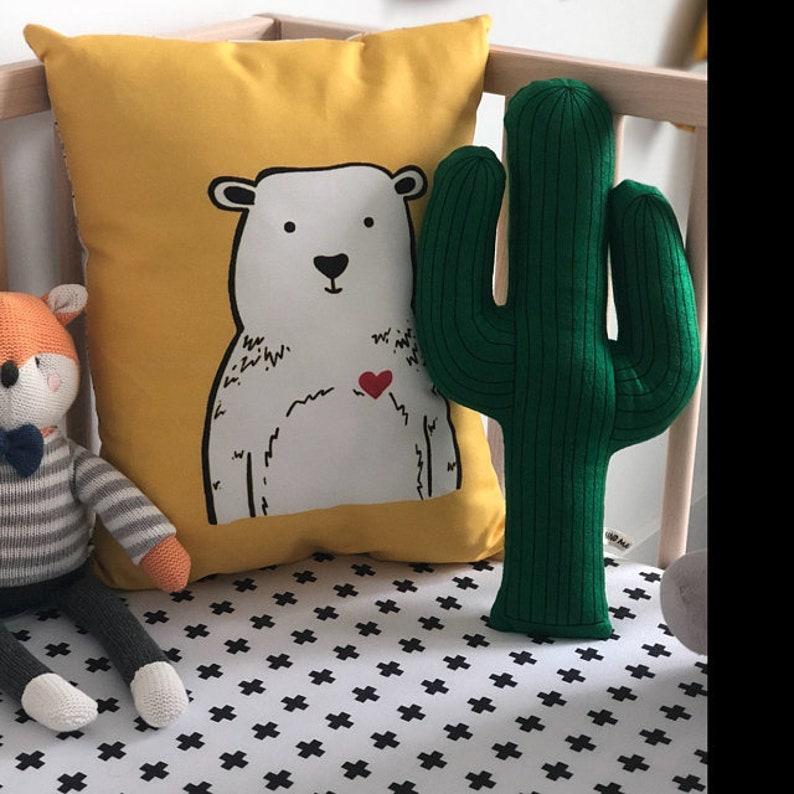 Yellow bear cushion