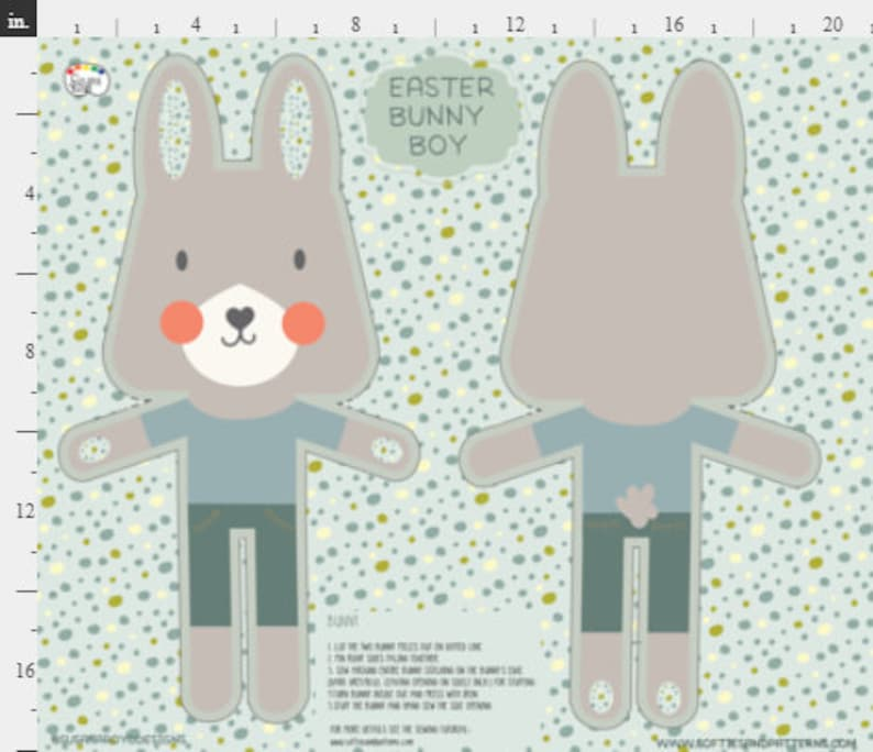BUNNY fabric panel, Easter bunny plush fabric, bunny cushion fabric, cut  and sew, DIY kids sewing craft, easy sewing kids plushy softies