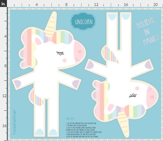 Unicorn doll fabric panel