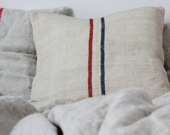 Grain sack pillow case, grainsack cushion cover, antique hemp linen, antique hemp, stripes, handloomed organic fabric, rustic, farmhouse