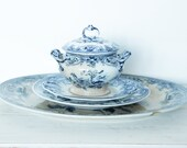 Antique transferware set of 3, soup bowl, 2 large platter, blue transferware, India flowers, 18-19 century, collectible, farmhouse, shabby