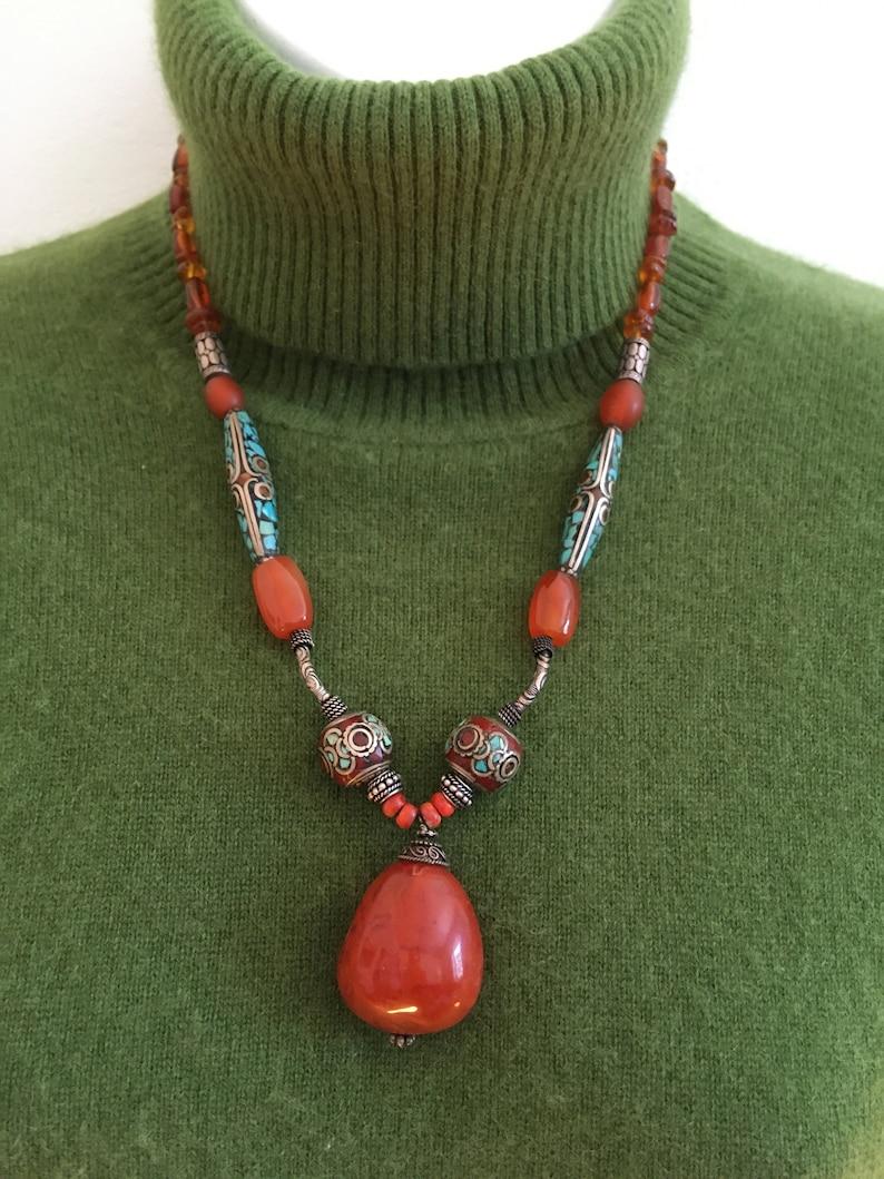 Tribal Style Carnelian Pendant Necklace
