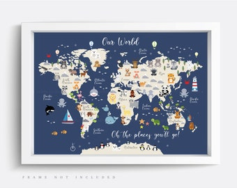 Children/'s A1 Animal Map of the World Large Poster Print Wall Art for Kids Room