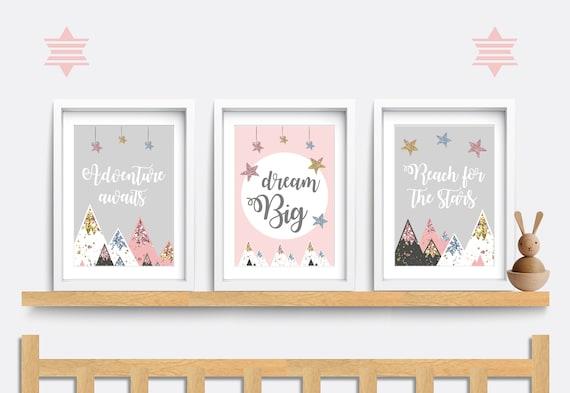 "Set of 3 Nursery Baby Prints Dreams Adventure Boho 5x7/"" /& A4"