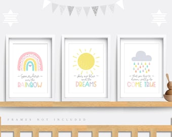 Nursery wall art, Set of 3 prints, Somewhere over the rainbow, Rainbow Nursery print, Kid bedroom art, Cloud nursery, Rainbow baby shower