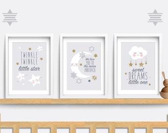 Nursery wall art. Set of 3 Baby Nursery prints. Cloud nursery decor. Moon nursery art. Baby nursery print. Star wall art. Grey art