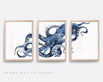 Nautical wall art, Set of 3 sea themed prints, Octopus wall art, Kid bedroom art, Baby nursery decor, Nautical nursery art, Octopus print