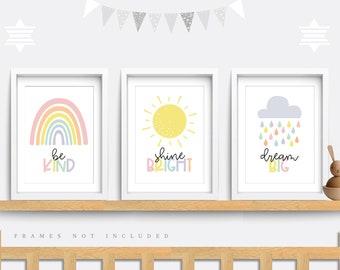 Nursery wall art, Set of 3 prints, Cloud nursery print, Rainbow Nursery print, Kids bedroom art, Sun art, Rainbow baby shower, Be kind art
