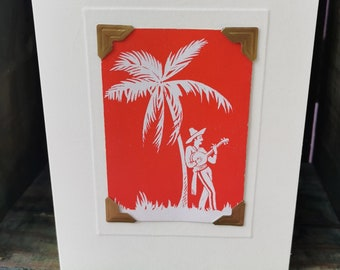 Handmade greetings/birthday card. Genuine vintage playing card, late 1940s/early 1950s - Mexican playing a guitar under a palm tree
