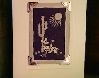 Handmade greetings/birthday card. Genuine vintage playing card, 1954 - Mexican - sombrero - cactus - guitar -desert