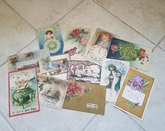 Antique New Years Postcard/ Vintage New Years Postcards/ Collectible Cards