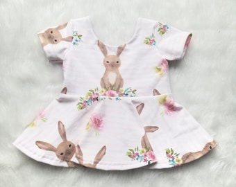 Peach Floral Bunny Top, Low Back Shirt, Peplum Baby Girl
