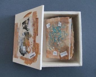 Miniature book, 2 3/4 x 2 inches (7 x 5 cm) in its case slips in tea bags