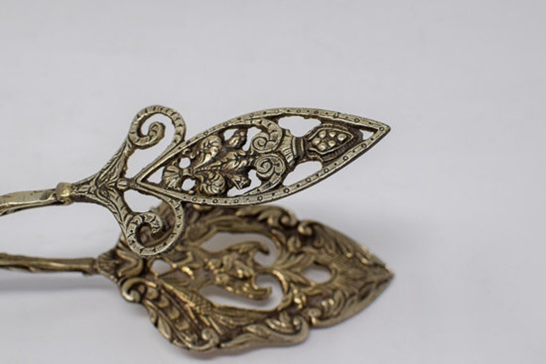 Pair of Silverplated Ornate Serving Tongs