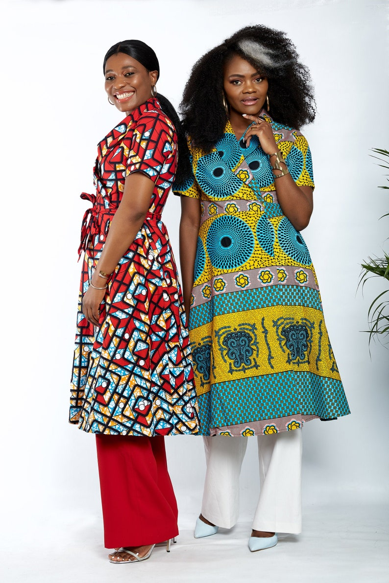 New In African Clothing African Ankara Print Short sleeves Wrap Dress