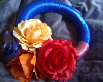 Floral wreath 25-35 cm satin ribbon multi colour present wall art