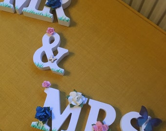 Wedding Mr and Mrs floral and butterfly accented sign Mr and Mr and Mrs and Mrs also