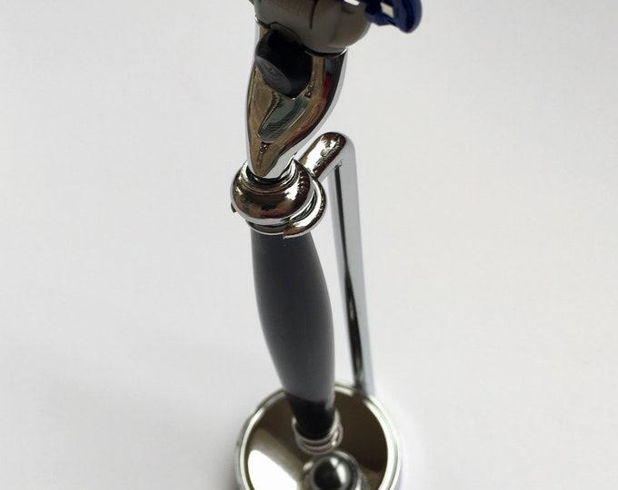Mens Mach III Chrome Razor and Stand and Custom, Hand-Turned Buffalo Horn Handle Custom Made