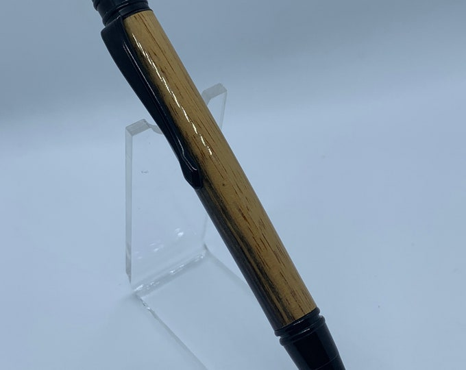 Executive Black Enamel Twist Pen With hand turned Black & White Ebony Wood Body