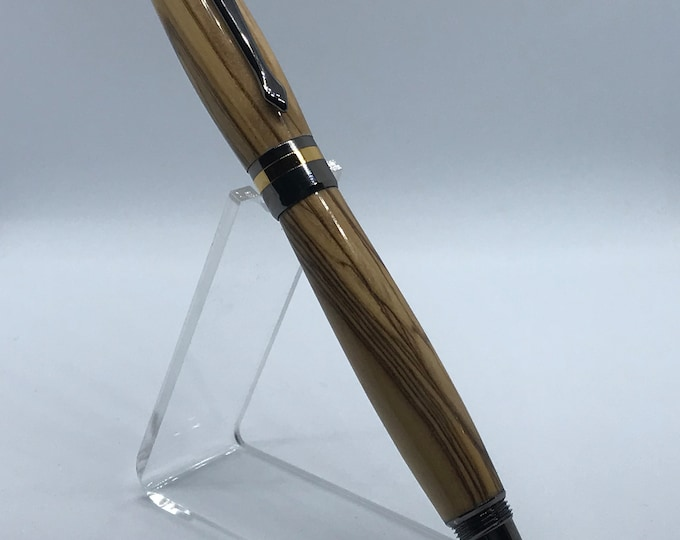 Classic Elite2 24kt Gold and Gun Metal Fountain Pen With Olivewood Body