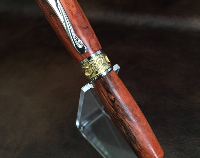 Broadwell Nouveau Sceptre Rhodium and 22kt Gold Rollerball Pen With Thuya Burl Wood Body Custom Pen  Handmade Pen Solid Wood