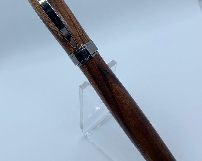 Magnetic Graduate Gun Metal Fountain Pen With Yucatan Rosewood Hand Turned Body