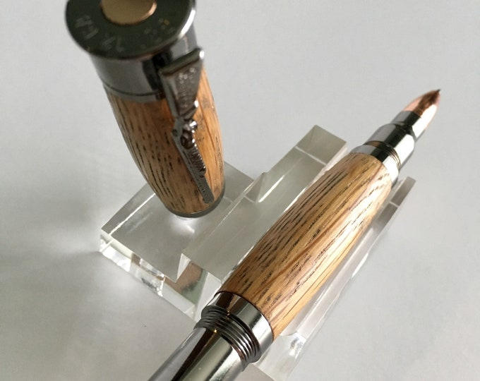 Over and Under Shotgun Roller Ball Pen W/ hand-turned custom Jack Daniels Whiskey Barrel Body