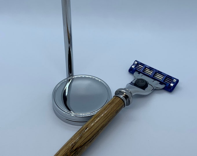 Men's Mach III Razor with Chrome Stand and Hand-Turned French White Oak Handle