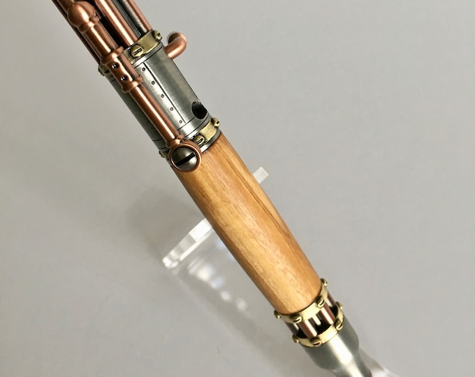 Steampunk Bolt Action Pen w/Bethlehem Olivewood Body Custom Pen  Handmade Pen Solid Wood