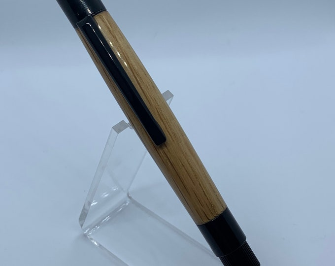 Stratus Black Enamel Click Pen with Hand Turned Jack Daniels Oak Barrel Wood Body