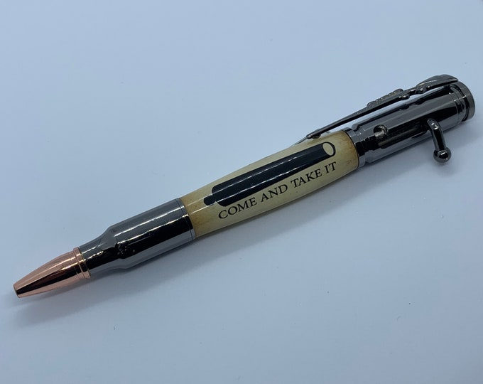 """30 Caliber Gun Metal Bolt Action Pen w/""""Come and Take It"""" Body and Rifle Pen Case"""
