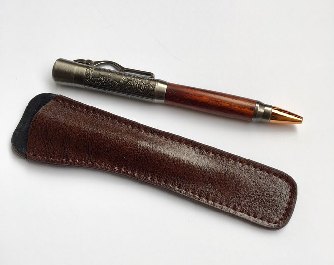 Lever Action Ballpoint Pen with Antique Nickel Finish and Cocobolo Hand Turned Wood Body Custom Pen Handmade Pen