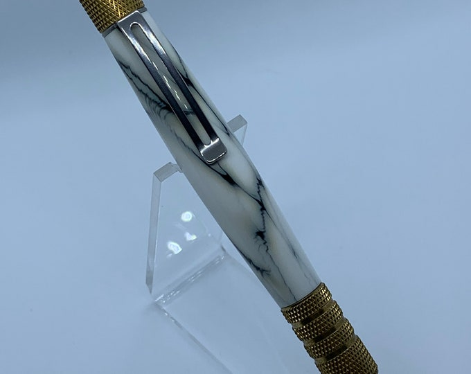 DuraClick EDC Pen in C3604 Brass with White Marble Hand Turned Body