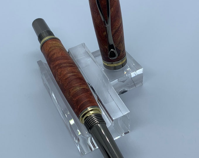 Kojent Fountain Pen with Cobalt Gold and Gun Metal Finish with Maple Burl Wood Body