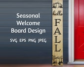 Hello Fall Welcome Sign Digital Download, DIY Home Decor, Fall Decor,Reversible Welcome,Front Porch Decor,Rustic Wooden Porch Sign, SVG